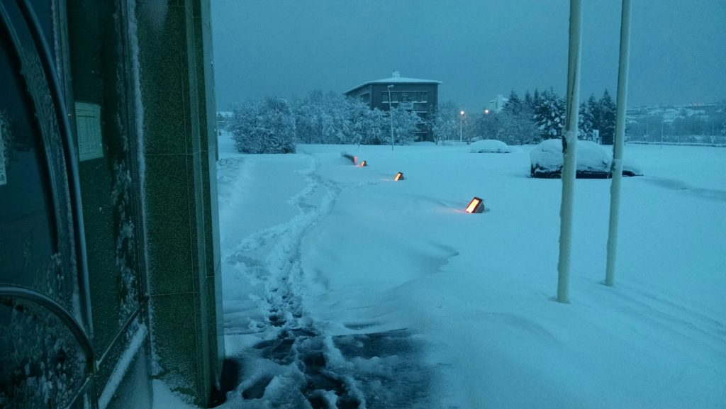 a trail through 51cm high snow, I am standing on the steps of a building looking to the north