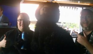 Me and Demo from BoldGrid with the Molson bear