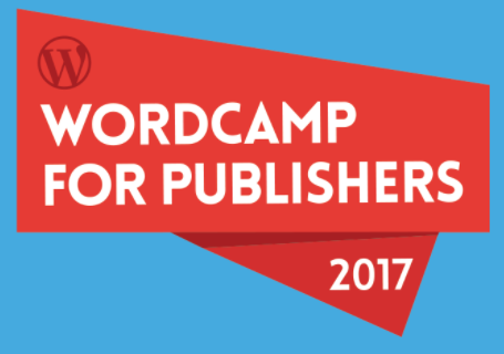WordCamp for Publishers logo, 2017. This is a red-orange asymmetrical block that says the event name and has a WordPress logo on a blue background