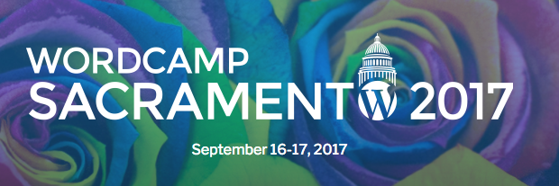 WordCamp Sacramento logo, which is a WP w circle with a capitol rotunda on top in place of the o at the end of Sacramento, floral background
