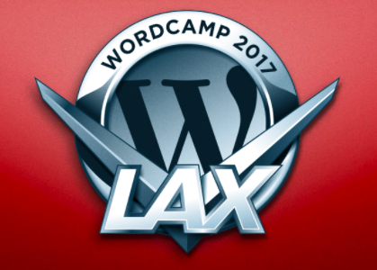 The WordPress W set in what could be a hood ornament in chrome. above the W it says WordCamp 2017, below the W it ways LAX