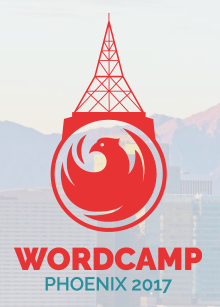 A phoenix in a circle with a radio tower rising from the top. The words Wordcamp Phoenix 2017 appear below.
