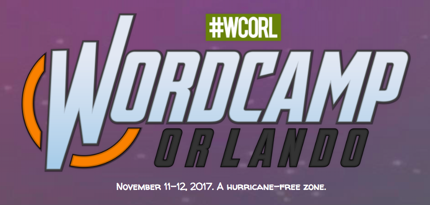 Purple background that says WordCamp Orlando over top of it in comic book style font