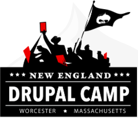 a silhouette of a group od revolutionary fighters with red flags over a banner that read New England Drupal Camp Worcester, Massachusetts
