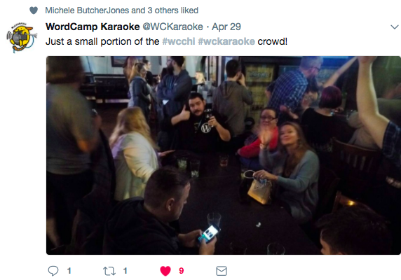A tweet with a picture of 6 not named people at wc karaoke in Chicago from April 2017