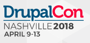 the words DrupalCon Nashville 2018 April 9 - 13 on a grew background in blue and red colored letters