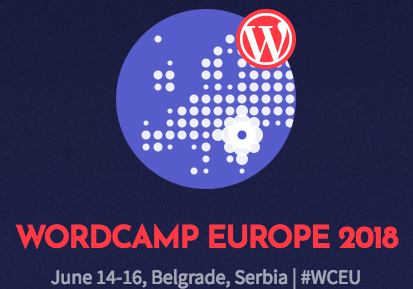 Blue background with a globe on it and the words WordCamp Euorope 2018 and a dot on the city of Belgrade in Serbia