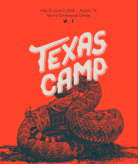 A snake with a red background and the words Texas Camp 2018 Austin TX may 31 through june 2