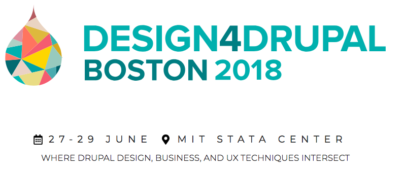 the words Design4Drupal and a drupal drop with a styled color skyline of Boston