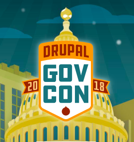 a shield that says Drupal GovCon 2018 over a drawing of the US Capitol building