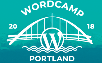 WordCamp Portland 2018 logo, with a bridge in the background