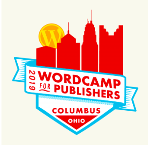 WordCamp for Publishers 2019 columbus logo featuring the skyline of Columbus in red silhouette