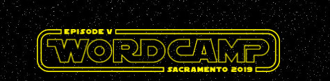WordCamp Sacramento Logo in star wars font