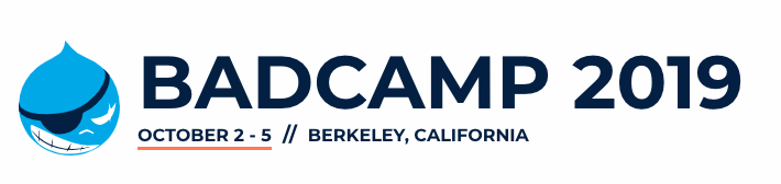 BADCamp logo and date of event, October 2nd - 5th